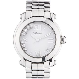 CHOPARD HAPPY SPORT LADY WATCH WITH DIAMONDS IN STEEL REF. 8475  Movement: quartz (without battery).
