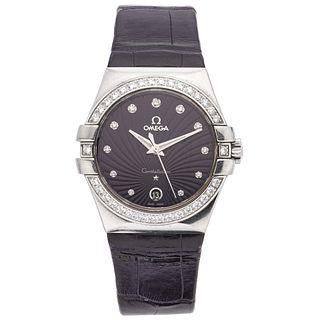 OMEGA CONSTELLATION WATCH WITH DIAMONDS IN STEEL REF. 123.18.35.60.60.001  Movement: quartz