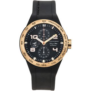 PORSCHE DESIGN FLAT SIX CHRONOGRAPH WATCH IN STEEL AND 18K YELLOW GOLD REF. P6340  Movement: automatic