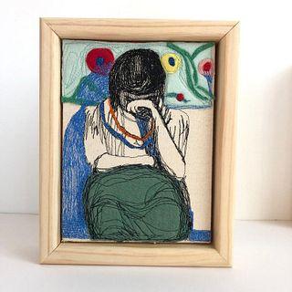 "After Diebenkorn ""Girl with Pattern Background"""