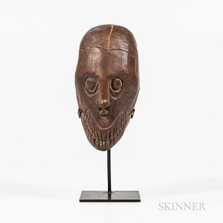"Asmat Carved Wood Ritual ""Replacement"" Head, Buepis"