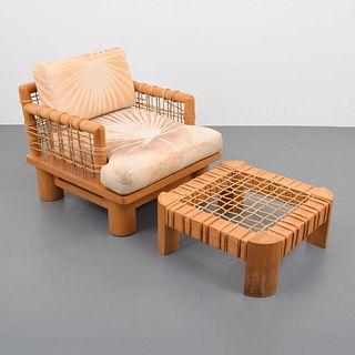 "Karl Springer ""Dowelwood"" Lounge Chair & Ottoman, Paige Rense Noland Estate"