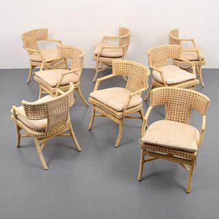 8 McGuire Rattan Arm Chairs, Paige Rense Noland Estate
