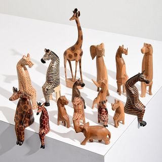 16 African Animal Sculptures, Paige Rense Estate