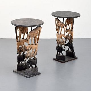 Pair of African Wildlife End Tables, Paige Rense Noland Estate