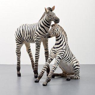 2 Large Zebra Sculptures, Manner of Sergio Bustamante, Paige Rense Noland Estate