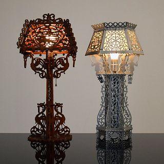 2 Folk/Tramp Art-Style Lamps, Paige Rense Noland Estate