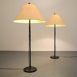 Pair of Bronze Floor Lamps, Manner of Alberto Giacometti, Paige Rense Noland Estate