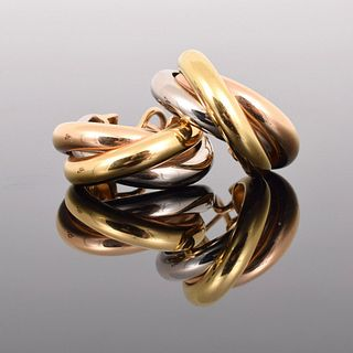 "Pair of Cartier ""Trinity"" 18K Gold Earrings"