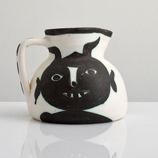"Pablo Picasso ""Tetes"" Pitcher, Madoura (A.R. 367)"