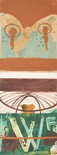Large Julian Schnabel Mixed Media Diptych Painting
