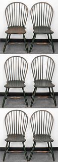 Green Painted Windsor Chairs, 6