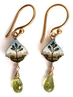 Tiny Tree Earrings with Peridot