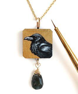 Square Raven Pendant