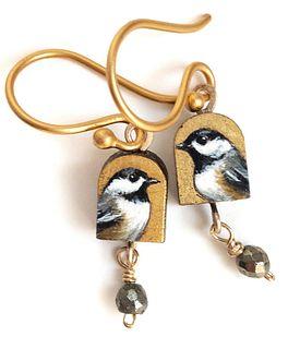 Tiny Chickadee Earrings