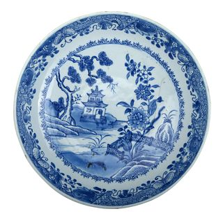 A CHINESE BLUE AND WHITE LANDSCAPE DISH