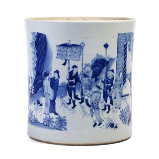 A CHINESE BLUE AND WHITE FIGURES BRUSHPOT