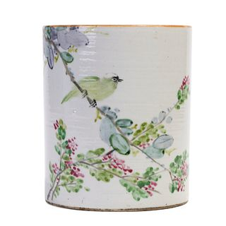 A CHINESE FAMILLE ROSE BIRDS AND FLOWERS BRUSHPOT