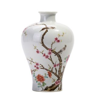 A FAMILLE ROSE FLOWERS AND BIRD VASE