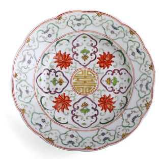 A FAMILLE ROSE FLORAL DISH