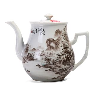 A CHINESE FAMILLE ROSE FIGURES TEAPOT