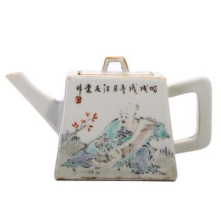 A CHINESE FAMILLE ROSE LANDSCAPE TEAPOT