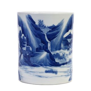 A CHINESE BLUE AND WHITE LANDSCAPE BRUSHPOT