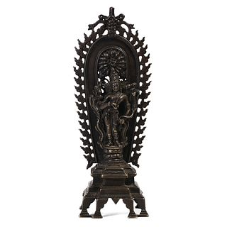 A TIBETAN SILVER-INLAID BRONZE FIGURE OF BODDHISATTVA