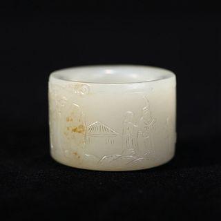 A WHITE JADE POEM THUMB RING