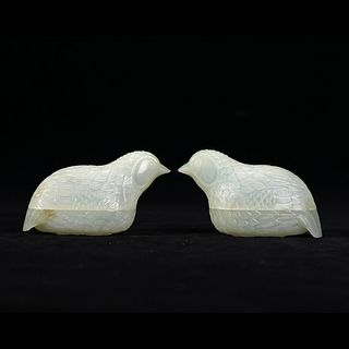 A PAIR OF WHITE JADE 'BIRDS' BOXES WITH COVERS