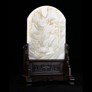A WHITE JADE LANDSCAPE TABLE SCREEN