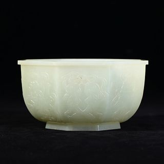 A WHITE JADE LOBED FORM FLORAL BOWL