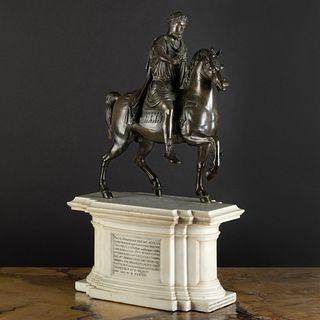 Italian Bronze Model of Marcus Aurelius on Horseback on an Inscribed Marble Plinth