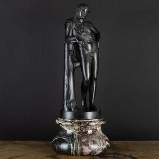 Italian Patinated Metal Model of a Youthful Man on a Marble Base, Possibly Bacchus