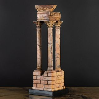 Italian Giallo Antico Marble Model of the Temple of Vespasian and Titus, After the Antique