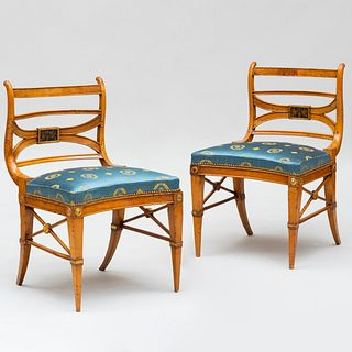 Pair of Italian Neoclassical Fruitwood and Parcel-Gilt Side Chairs, Possibly After a Design by Lorenzo Nottolini