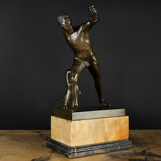 Bronze Figure of the Borghese Gladiator on a Marble Base, After the Antique