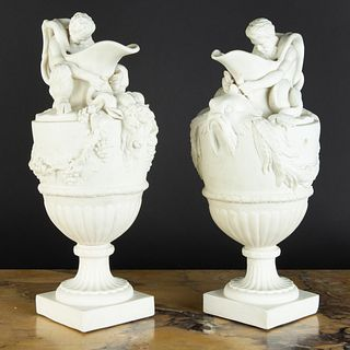 Pair of  T.J. & J. Meyer, Longport Parianware Ewers, After Models by John Flaxman, Sr.
