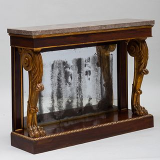 William IV Rosewood and Parcel-Gilt Console with a Fossilized Marble Top