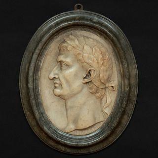 Italian Neoclassical Marble Profile Portrait of Roman Emperor Tiberius