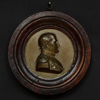 French Gilt-Bronze and Oak Profile Portrait Medallion of Napoleon
