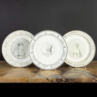 Group of Three Stone, Coquerel et Le Gros Transfer Printed Creamware Dinner Plates with Royal Portraits