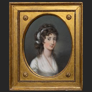 Attributed to Hugh Douglas Hamilton (1739-1808): Portrait of Mary Aylmer