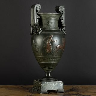 Italian Patinated Metal Krater-Form Vase, After the Antique