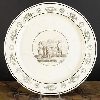 Stone, Coquerel et Le Gros Transfer Printed Creamware Charger with Classical Scene