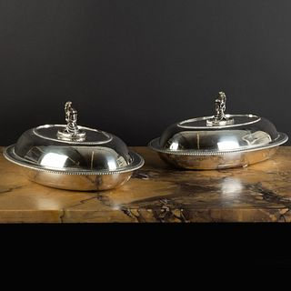 Pair of George III Silver Entrée Dishes with Knight Form Finials