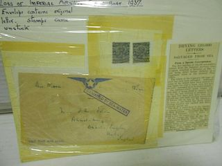 <p><span>Stamps, mixed 20th century, including early air mail, Cygnus Flying Boat crash 1937 at Brin
