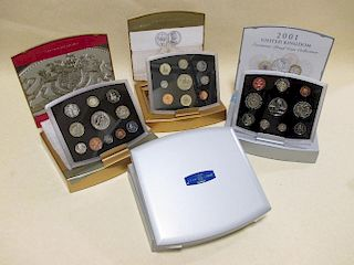 Royal Mint 2000 executive proof collection £5 - 1p, together with 2001 collection, a 2002 proof coll