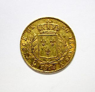 France gold 20 Francs, 1814, 'A', about VF, 6.5gm