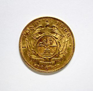 South Africa - gold 1 pond coin, 1896, VF